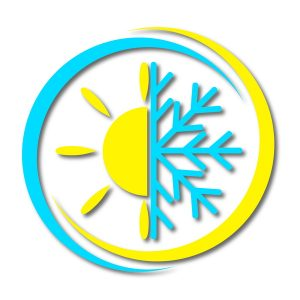 icon of half of a sun and half of a snowflake in yellow and blue