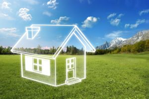 Energy-efficiency-design-concept-with-clear-house-and-blue-sky-background